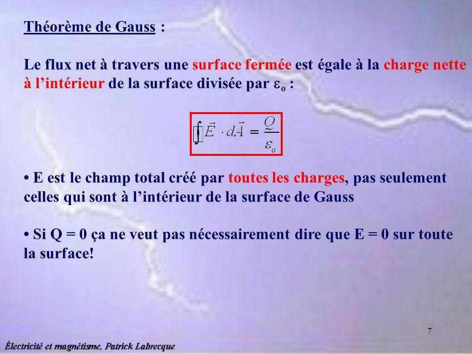 Théorème de Gauss : Le flux net à travers une surface fermée est égale à la charge nette à l'intérieur de la surface divisée par o :