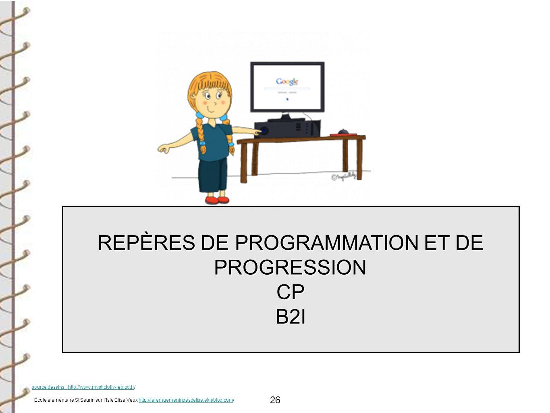 REPÈRES DE PROGRAMMATION ET DE PROGRESSION CP B2I