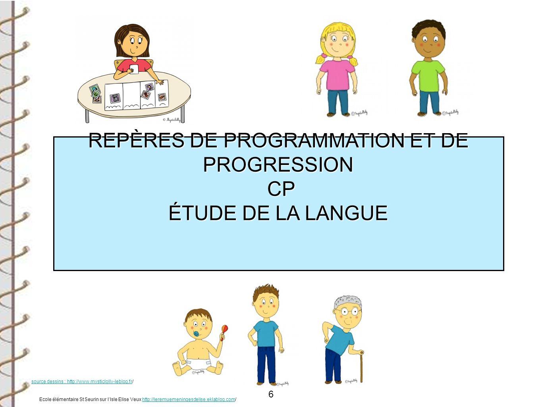 REPÈRES DE PROGRAMMATION ET DE PROGRESSION CP ÉTUDE DE LA LANGUE
