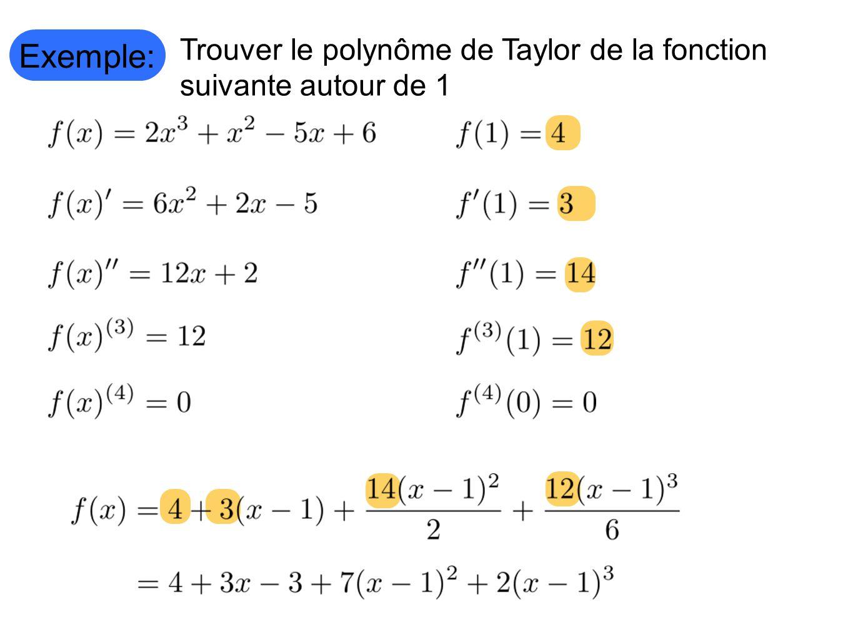 Exemple: Trouver le polynôme de Taylor de la fonction suivante autour de 1