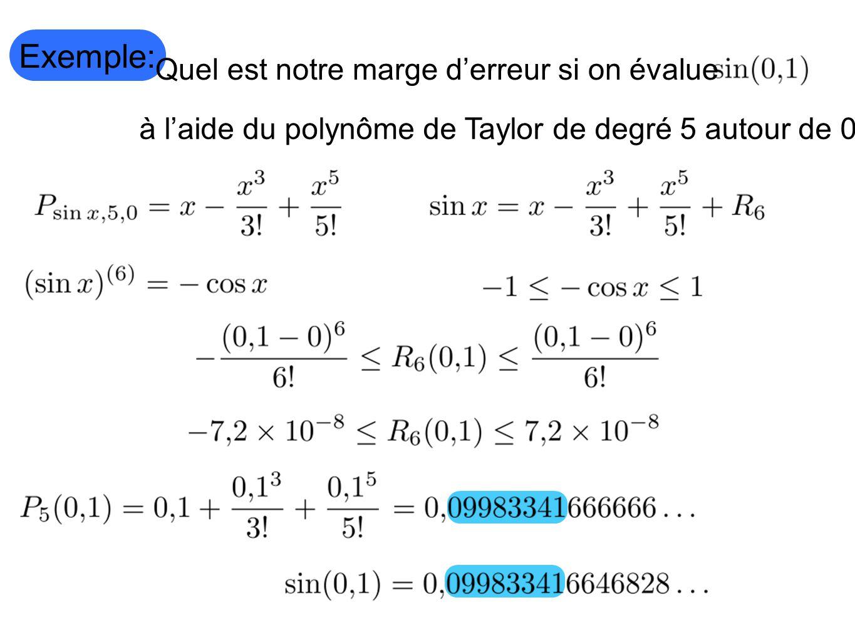 Exemple: Quel est notre marge d'erreur si on évalue