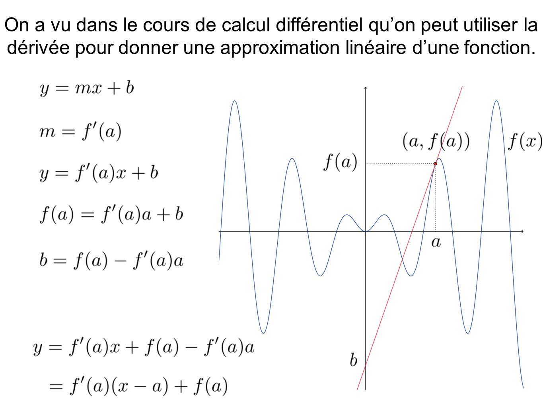 On a vu dans le cours de calcul différentiel qu'on peut utiliser la dérivée pour donner une approximation linéaire d'une fonction.