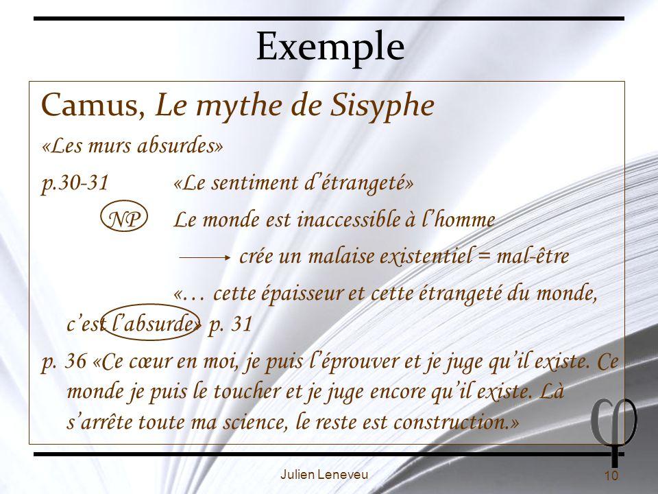 Exemple Camus, Le mythe de Sisyphe «Les murs absurdes»