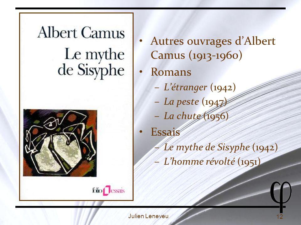 Autres ouvrages d'Albert Camus (1913-1960) Romans