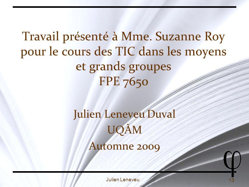 Julien Leneveu Duval UQÀM Automne 2009