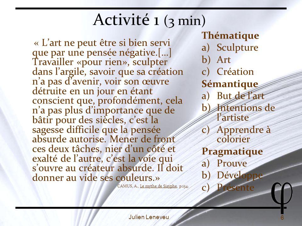 Activité 1 (3 min) Thématique Sculpture Art Création Sémantique