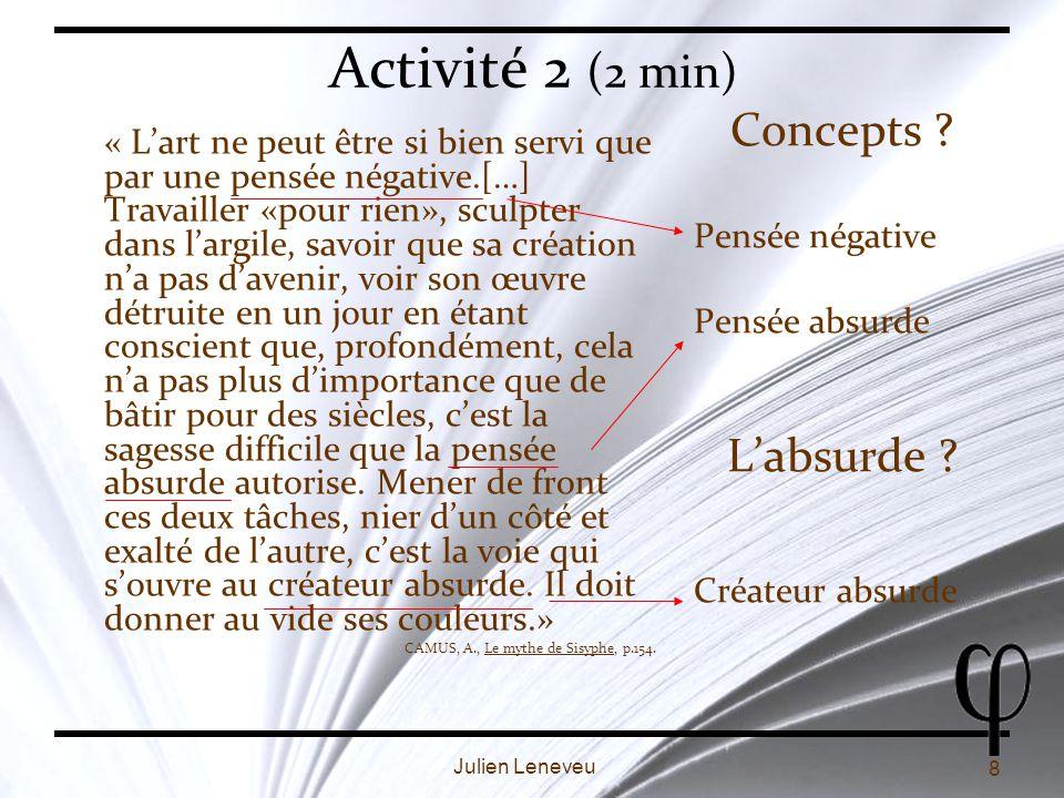 Activité 2 (2 min) Concepts L'absurde