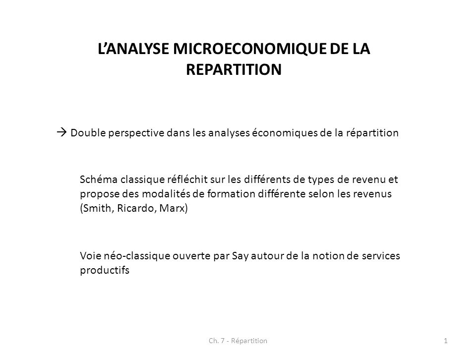 L'ANALYSE MICROECONOMIQUE DE LA REPARTITION
