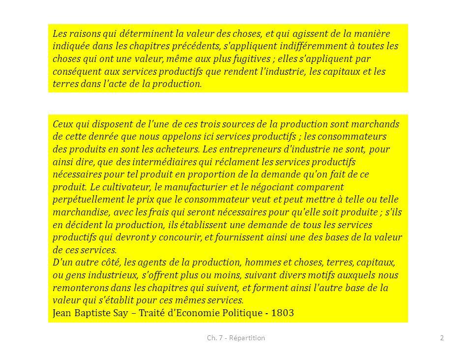 Jean Baptiste Say – Traité d'Economie Politique - 1803