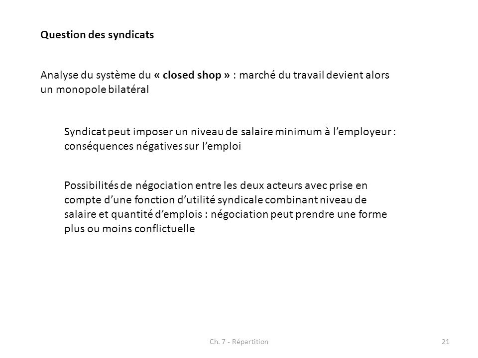 Question des syndicats