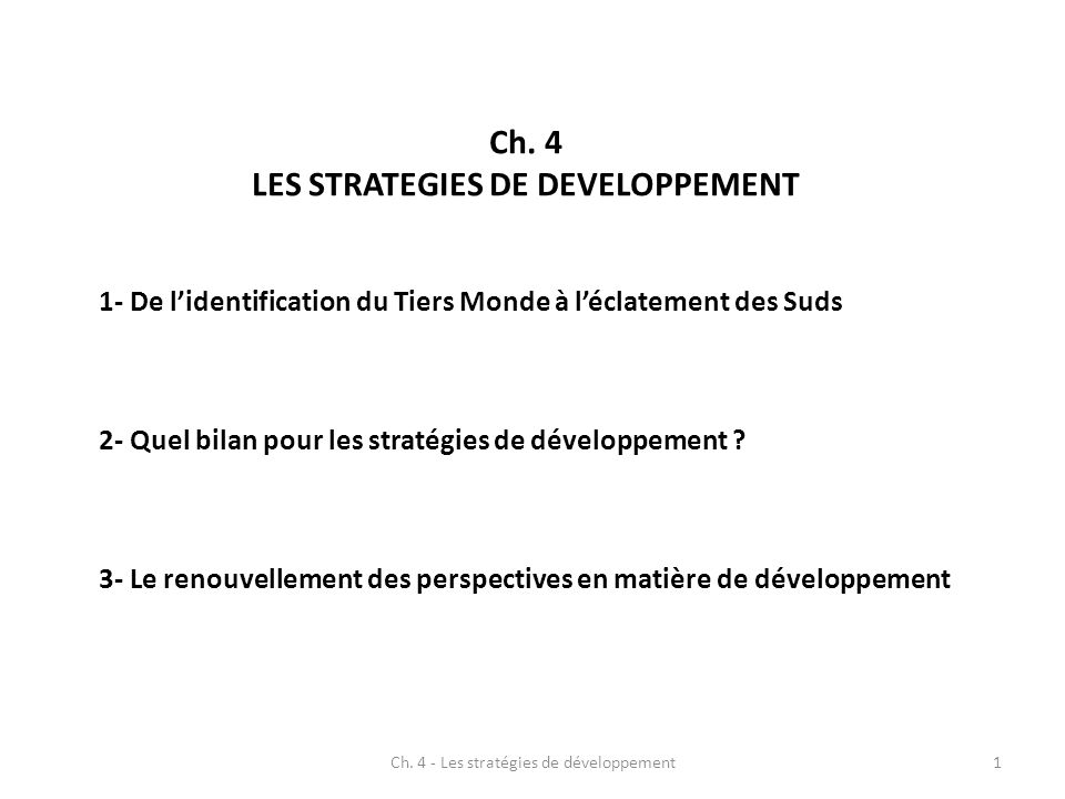 LES STRATEGIES DE DEVELOPPEMENT