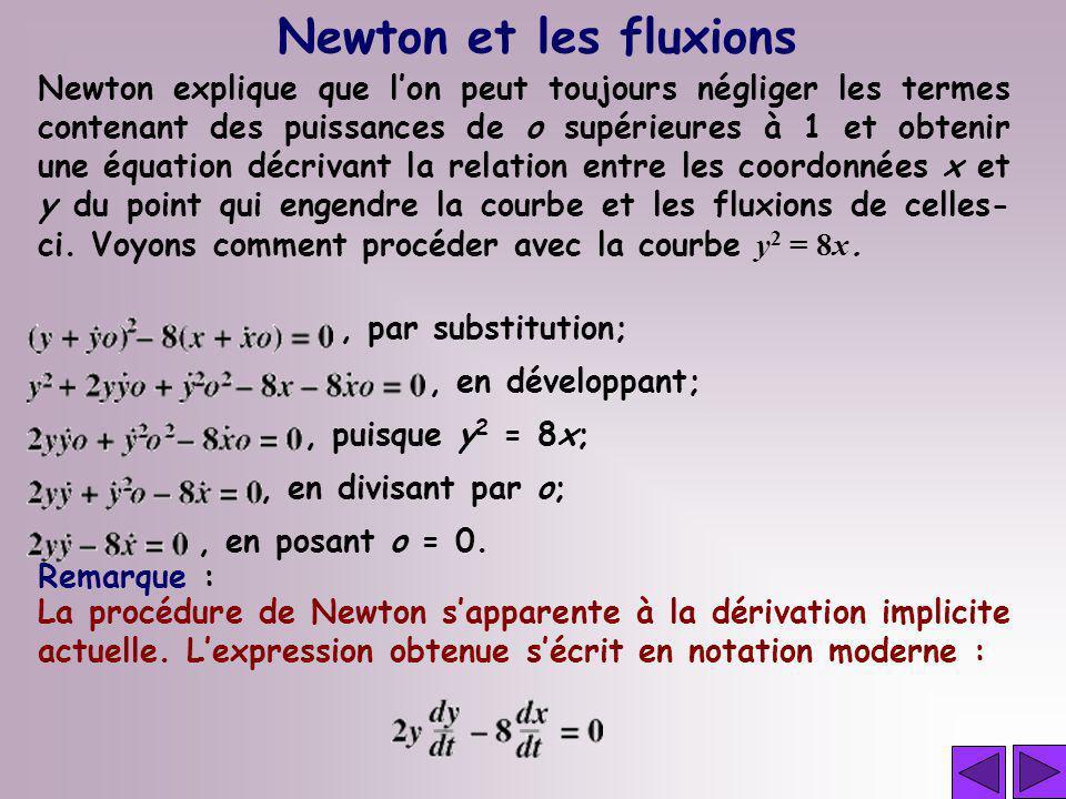 Newton et les fluxions