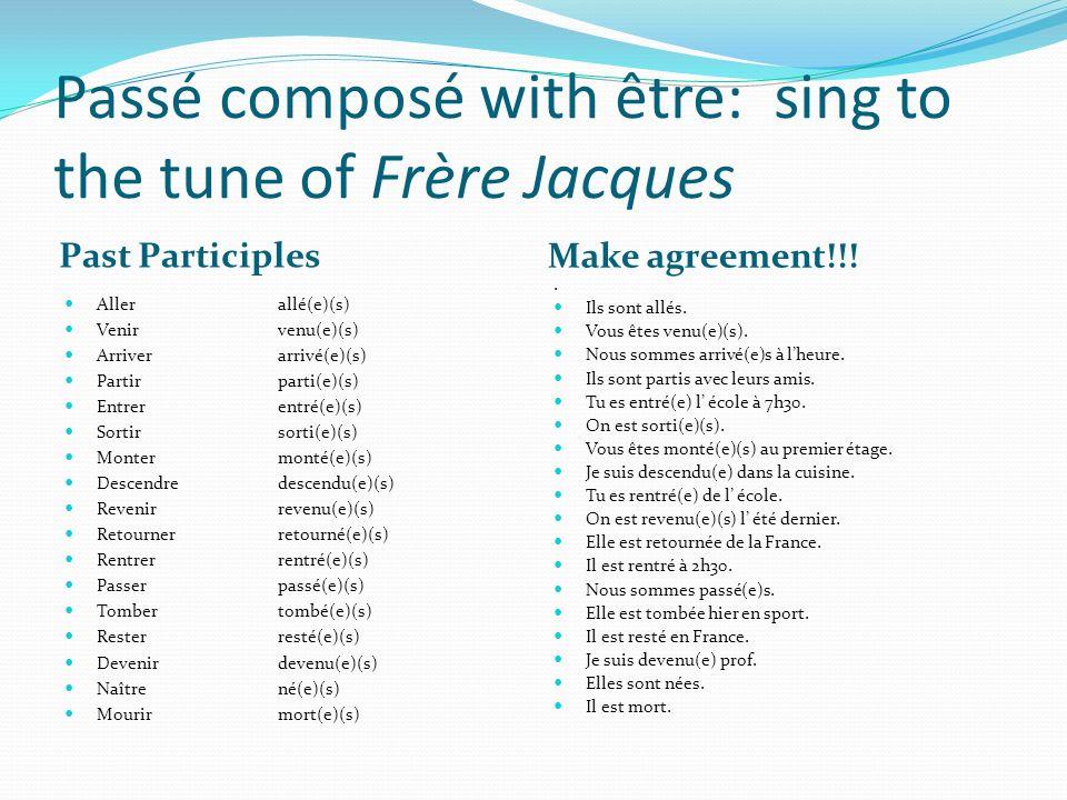 Passé composé with être: sing to the tune of Frère Jacques
