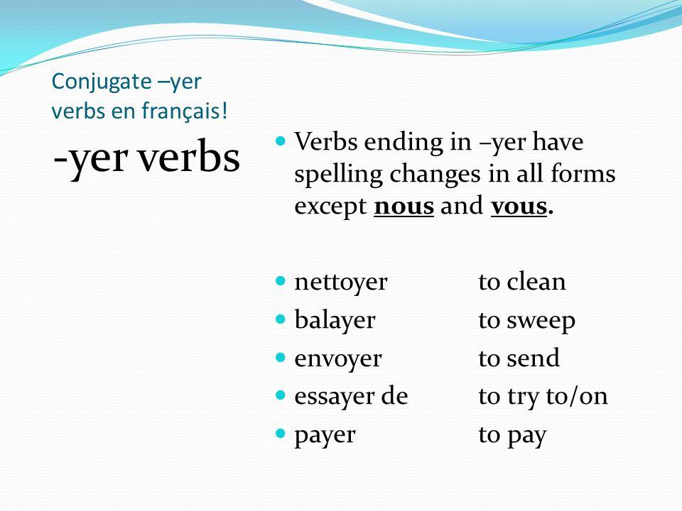 Conjugate –yer verbs en français!