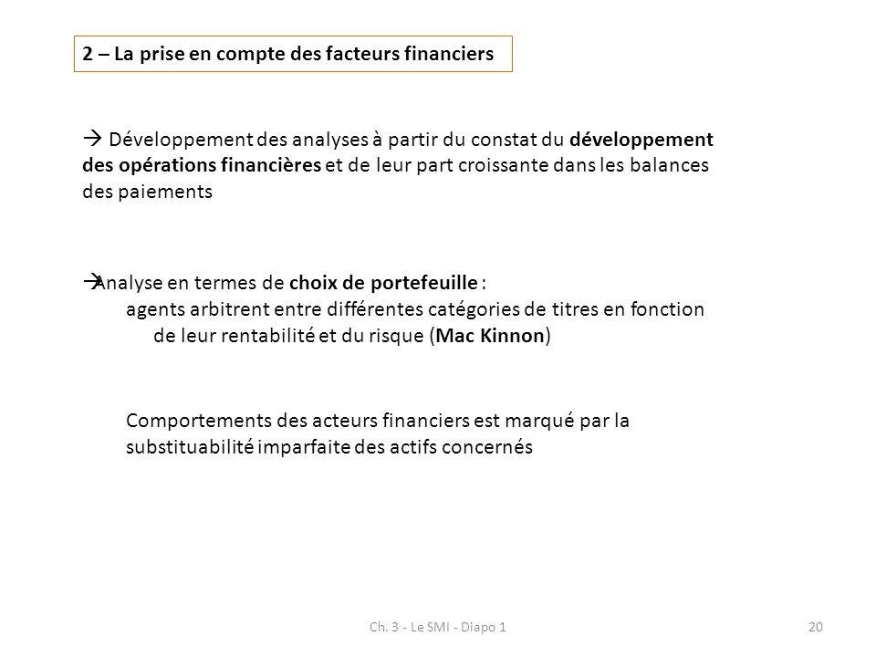 2 – La prise en compte des facteurs financiers