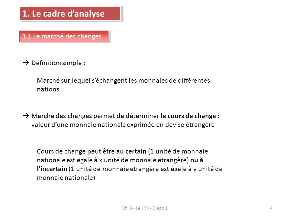 1. Le cadre d'analyse 1.1 Le marché des changes Définition simple :