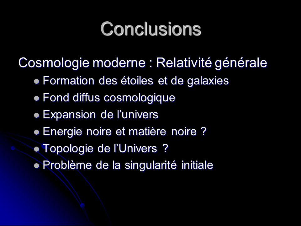 Conclusions Cosmologie moderne : Relativité générale