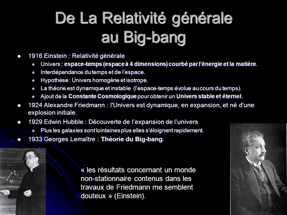 De La Relativité générale au Big-bang