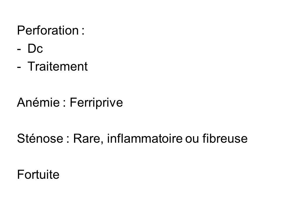 Perforation : Dc Traitement Anémie : Ferriprive Sténose : Rare, inflammatoire ou fibreuse Fortuite