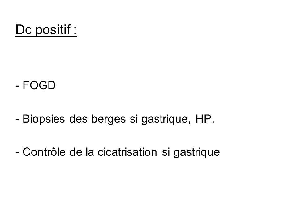 Dc positif : - FOGD - Biopsies des berges si gastrique, HP.