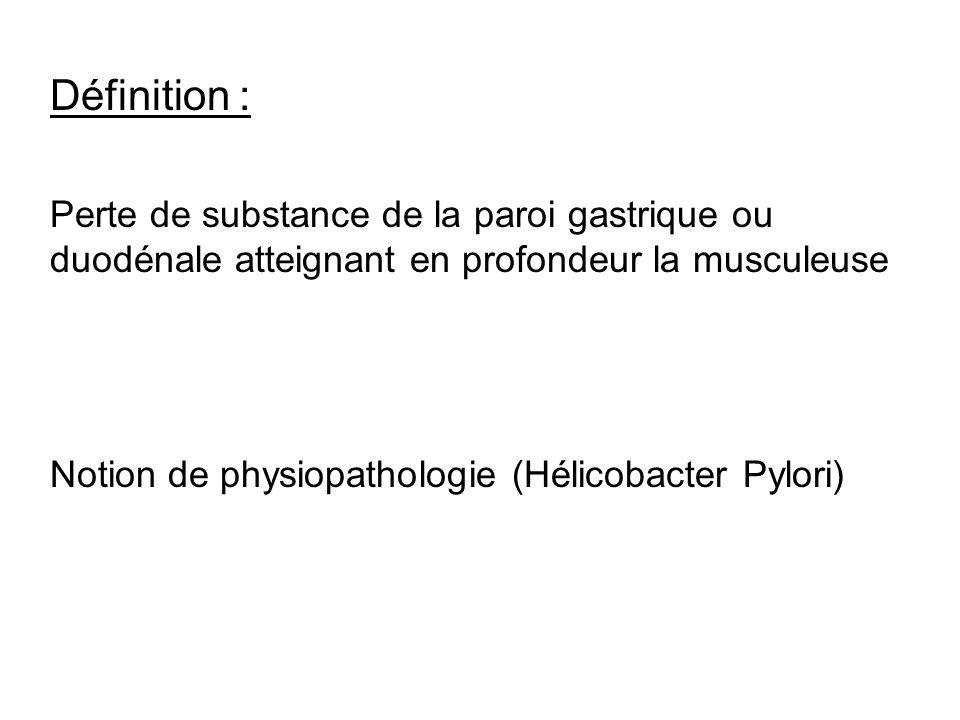 Définition : Perte de substance de la paroi gastrique ou duodénale atteignant en profondeur la musculeuse.