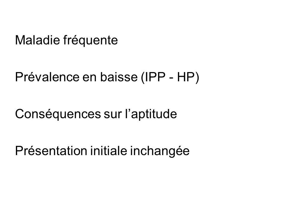 Maladie fréquente Prévalence en baisse (IPP - HP) Conséquences sur l'aptitude.