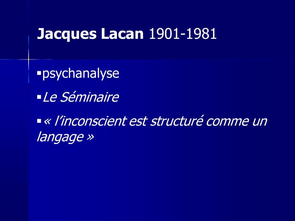 Jacques Lacan 1901-1981 psychanalyse Le Séminaire
