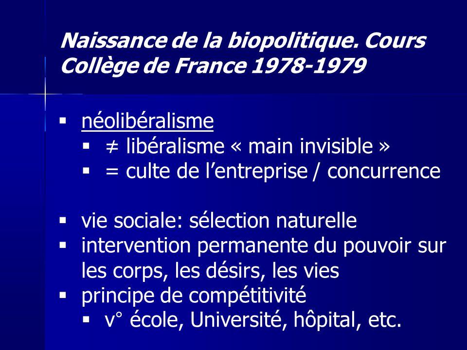 Naissance de la biopolitique. Cours Collège de France 1978-1979