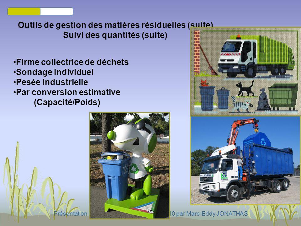 Outils de gestion des matières résiduelles (suite)