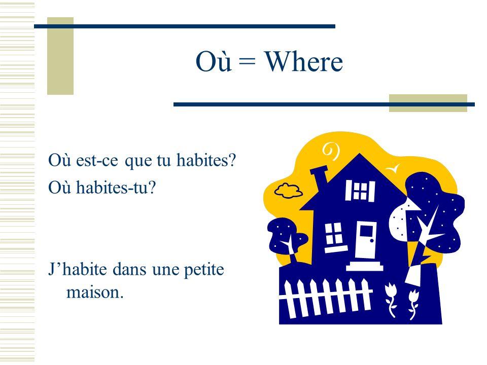 Où = Where Où est-ce que tu habites Où habites-tu