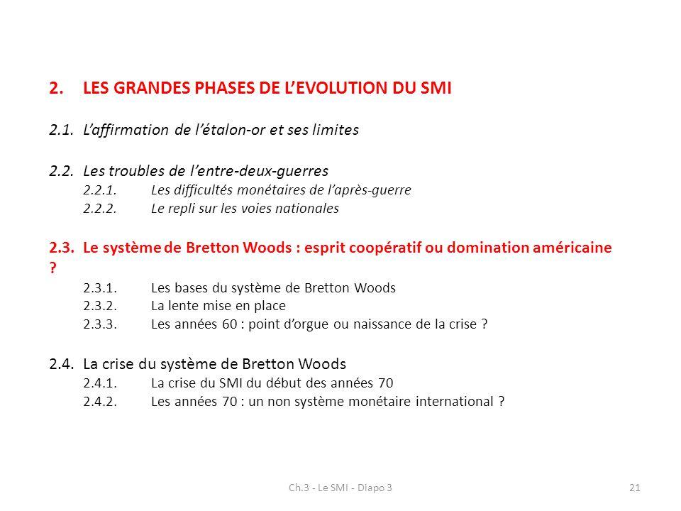 2. LES GRANDES PHASES DE L'EVOLUTION DU SMI