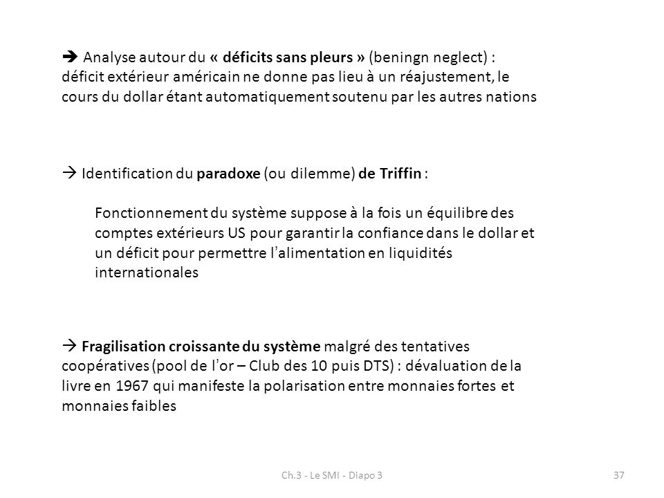  Identification du paradoxe (ou dilemme) de Triffin :