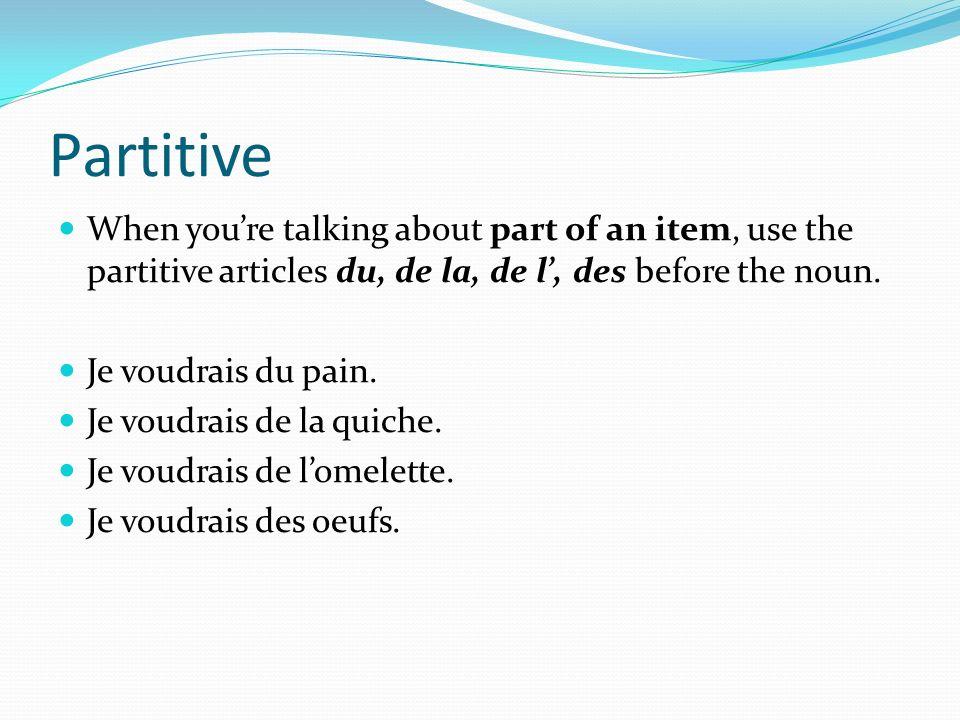 PartitiveWhen you're talking about part of an item, use the partitive articles du, de la, de l', des before the noun.