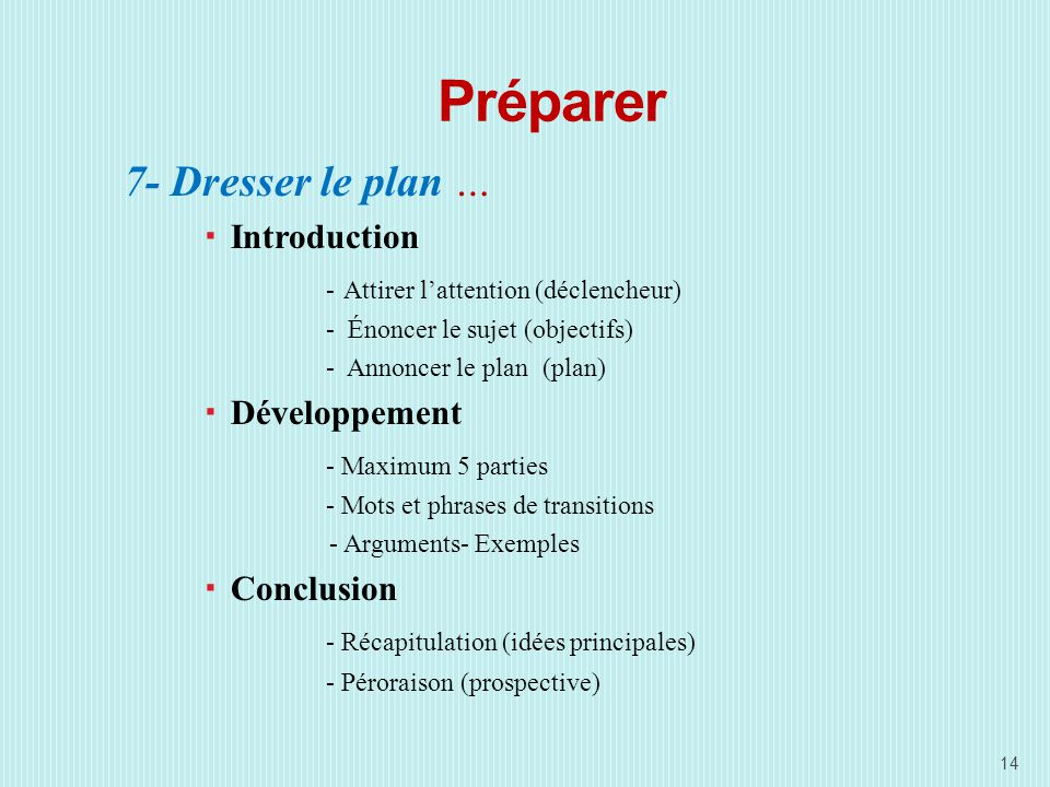 Préparer 7- Dresser le plan … Introduction