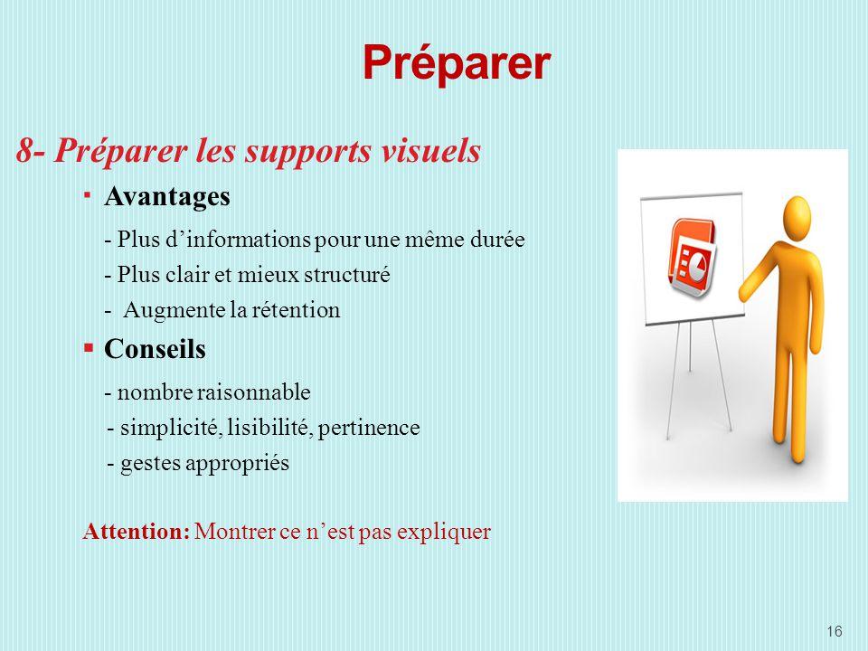 Préparer 8- Préparer les supports visuels Avantages