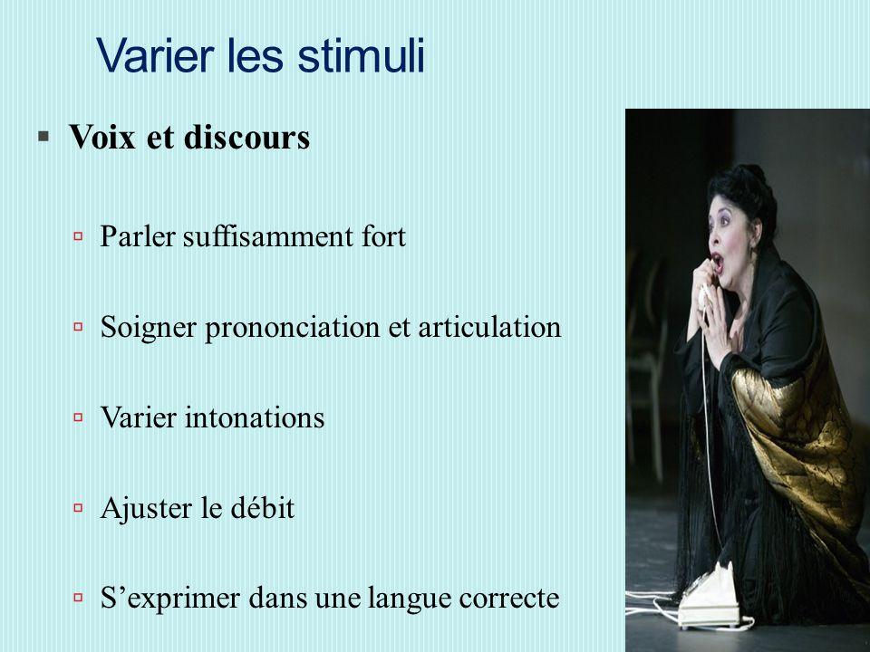 Varier les stimuli Voix et discours Parler suffisamment fort
