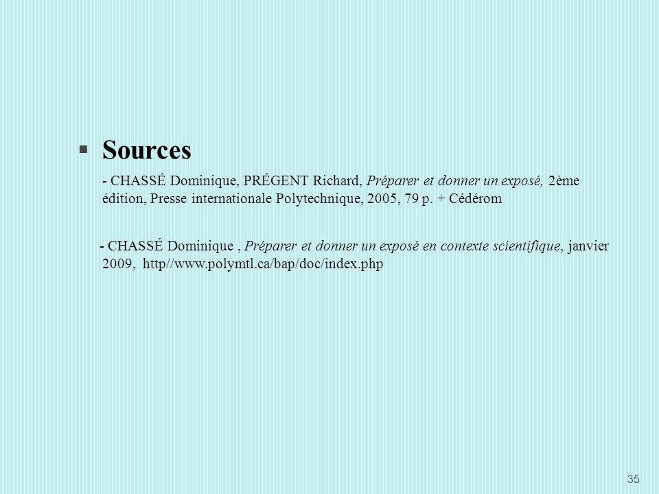 Sources - CHASSÉ Dominique, PRÉGENT Richard, Préparer et donner un exposé, 2ème édition, Presse internationale Polytechnique, 2005, 79 p. + Cédérom.