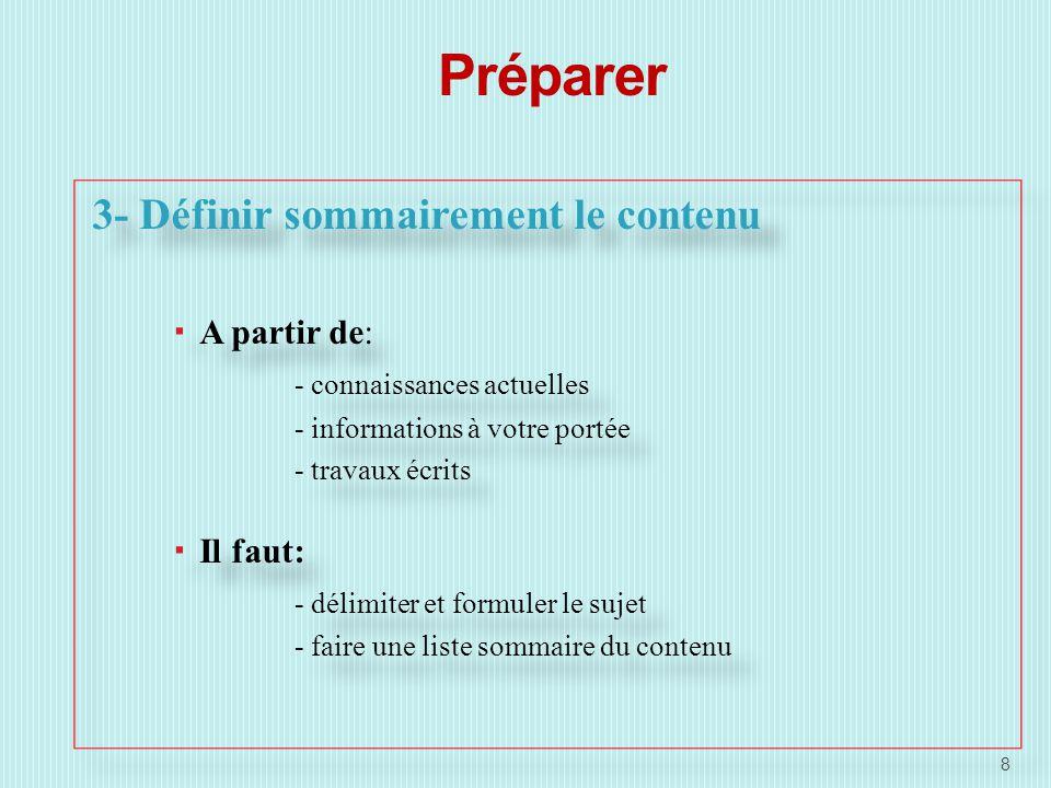 Préparer 3- Définir sommairement le contenu A partir de: