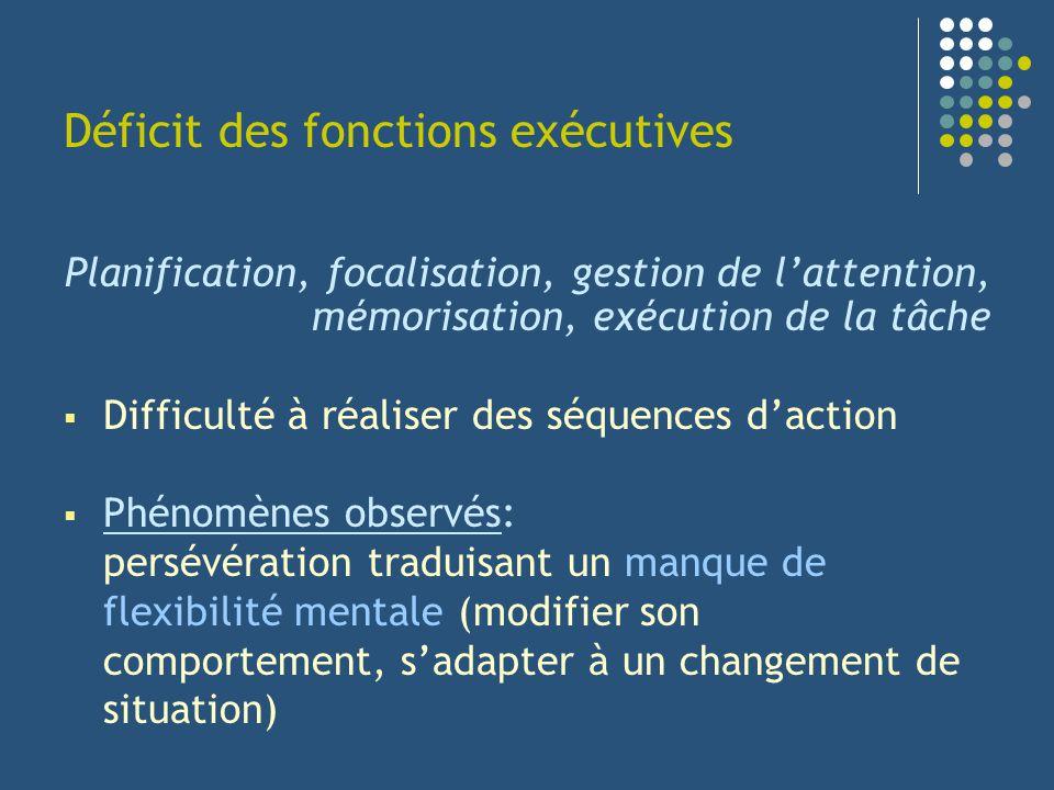Déficit des fonctions exécutives
