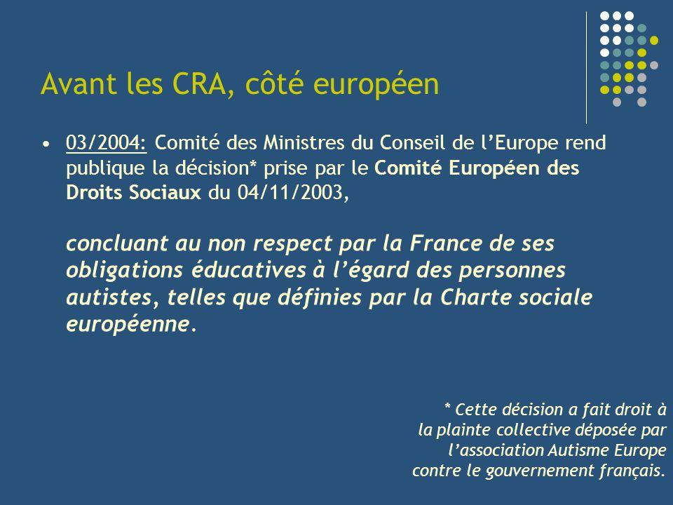 Avant les CRA, côté européen