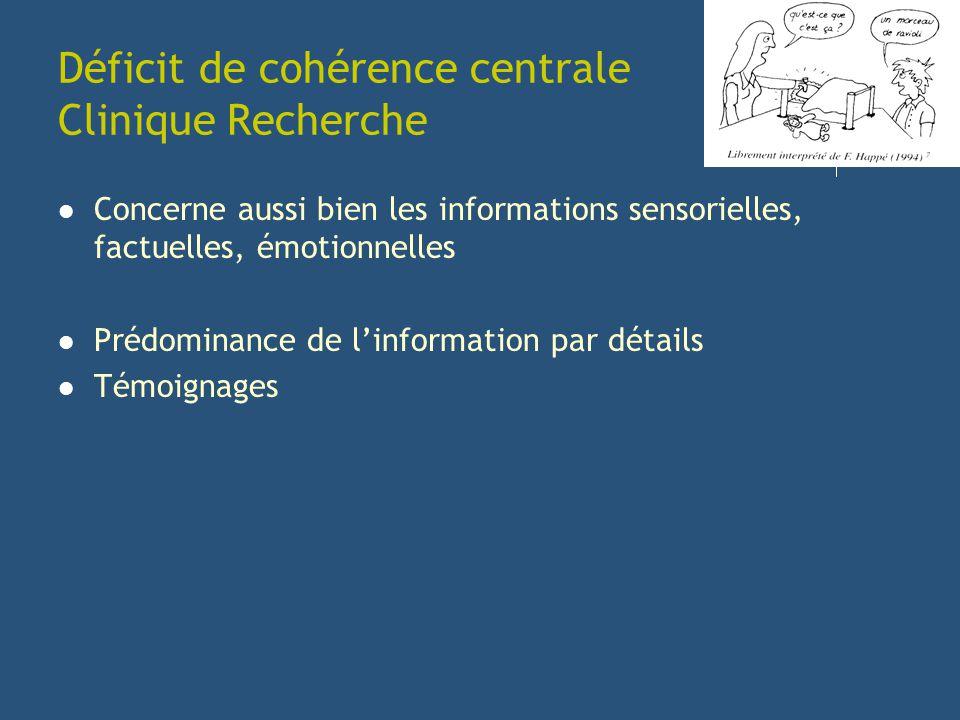 Déficit de cohérence centrale Clinique Recherche