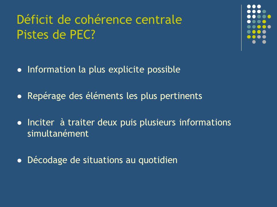 Déficit de cohérence centrale Pistes de PEC