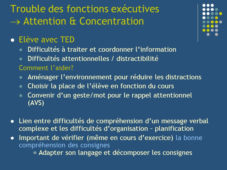 Trouble des fonctions exécutives  Attention & Concentration