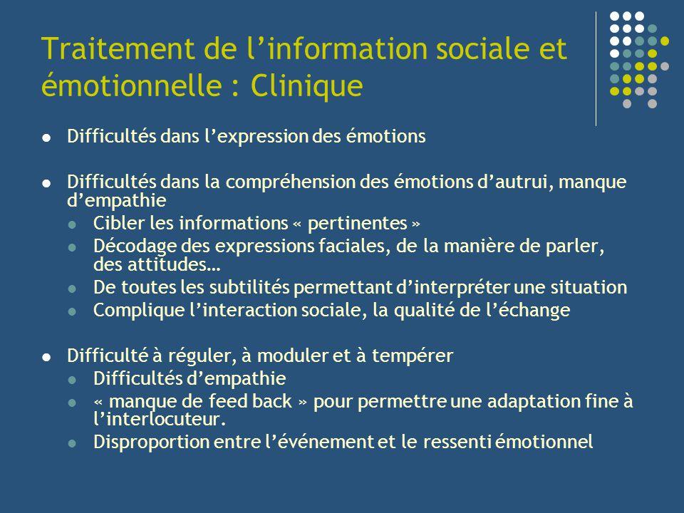Traitement de l'information sociale et émotionnelle : Clinique
