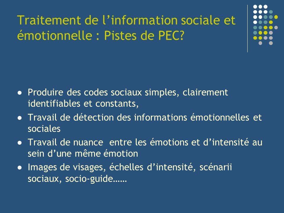 Traitement de l'information sociale et émotionnelle : Pistes de PEC