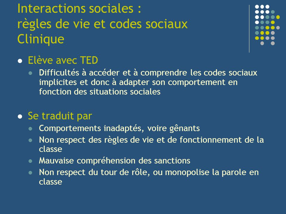Interactions sociales : règles de vie et codes sociaux Clinique