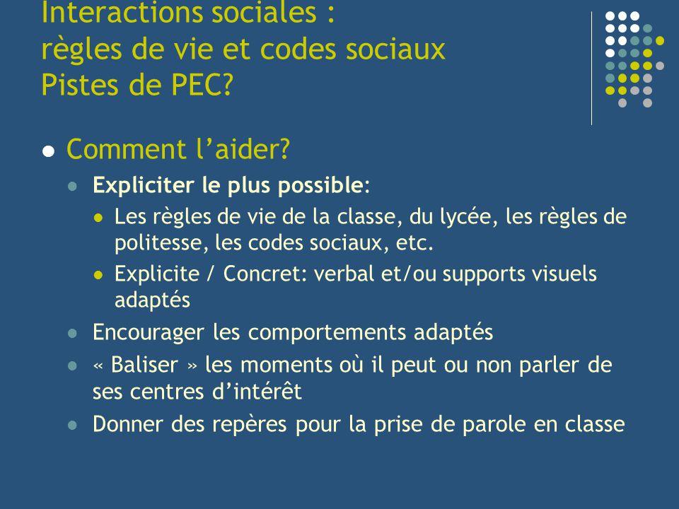 Interactions sociales : règles de vie et codes sociaux Pistes de PEC