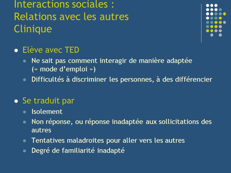 Interactions sociales : Relations avec les autres Clinique