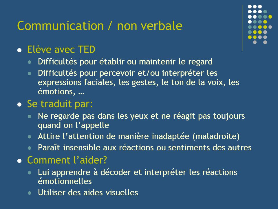 Communication / non verbale