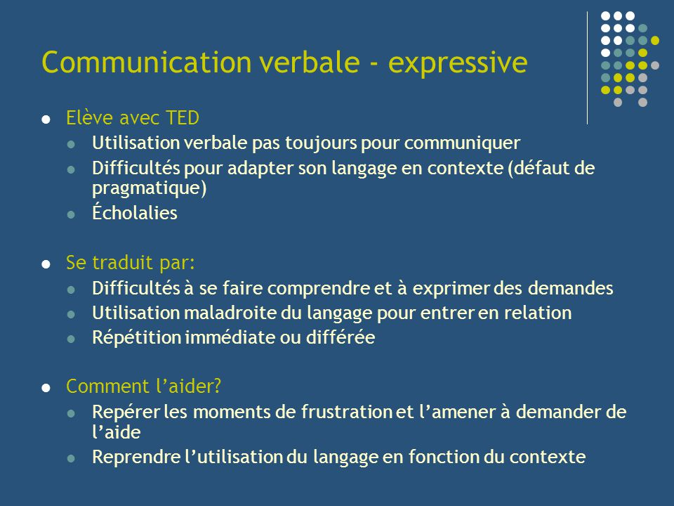 Communication verbale - expressive